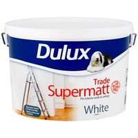 Dulux  Trade Supermatt White Paint - 10 Litre