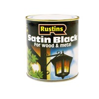 Rustins  Quick Dry Black Paint Satin - 500ml