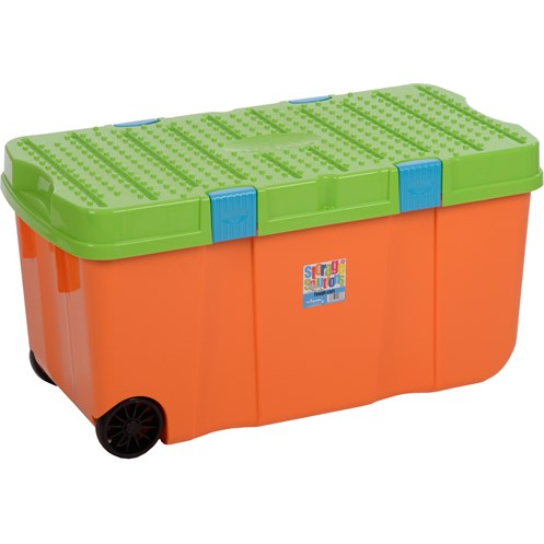 Wham  Tuff Storage Box with Lid Orange & Lime - 100 Litre