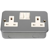 Phoenix  2 Gang Metal Clad Double Switched Socket