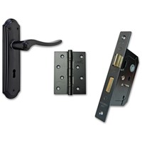 Basta  Belair Lockset with Hinges - Black