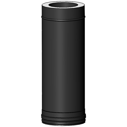 Mi-Flues System 2 Black Twin Wall Insulated Flue Pipe - 500mm Length