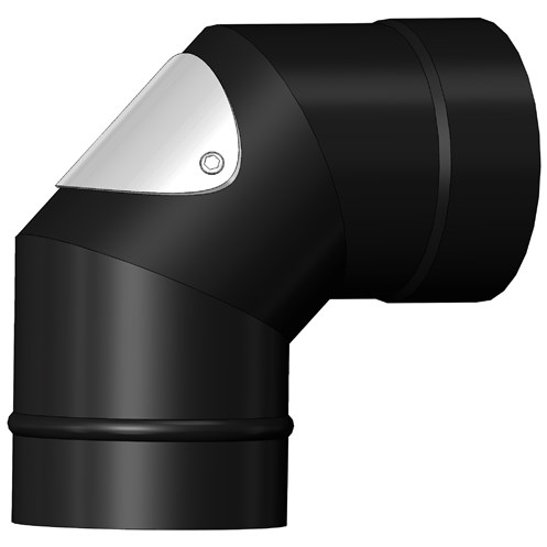 Mi-Flues System 7 Vitreous Enamelled Flue Pipe 90° Bend with Door - Matt Black